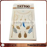 body gold silver metallic tattoo sticker,golden body metallic foil temporary tattoo stickers