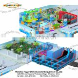 Plastic material 2016 kids games soft indoor playground with trampoline park,foam pit ,CS battle and diy area