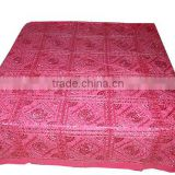 Indian Bed Cover Floral Embroidered 100% Cotton Bedspread KING Size