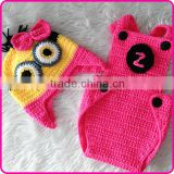 newborn crochet hat and diaper cover set baby girl photo props crochet minion newborn baby clothing set