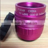 Factory price,high quality,Rose red color 35mm lens F1.7 manual iris c mount cctv camera lens