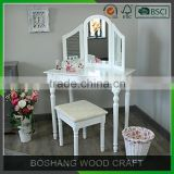 Cottage french dressing table wood vanity table modern make up table with mirror and stool pretty white dresser country style