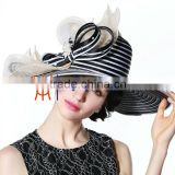 Wholesale Hat Supplier Church Hat Elegant Black/White Wide Brim Hat With Shining Pears And Rhinestone
