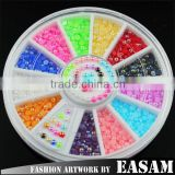 12 Colors Acrylic AB color Half Round Pearls Flat Back Jewelry Nail Art Beads Decoration Craft DIY Manicure Tools