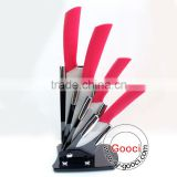 "GOOCI Ceramic Knife Set RED Handle 3""+4""+5""+6""+ knife Holder White Ceramic knives Set Cutlery Chef 4 knife"