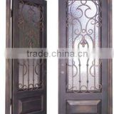 square top wrought iron unique home designs security doors tempered glass panel,with kick panel