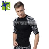 Male slimming sport t shirt ,Men Body Shaper leopard print Long Sleeve Undershirt, breathable quick dry t shirt for man MA37