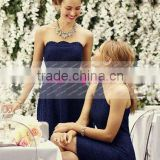 New One-shoulder Short Navy Blue Short Lace Bridesmaid Dress Maid Of Honor Dress ZY525