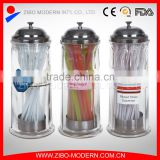Wholesale glass drinking straw dispenser with stainless metal cover