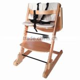EN14988 Solid Beech baby high chair with cushion and 5 point hardness