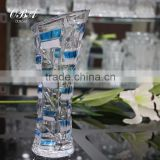 High quality transparent table top bule square pattern glass vase for Home Decor,Wholesale cheap practical glass vase