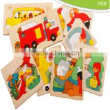 Wooden toy colorful jigsaw puzzles multi layer story puzzles educational puzzle for preschool children