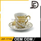 2017 Rose Design Romantic Gold Fine Bone china Bulk Tea Cup and Saucer Sets Shipping From China