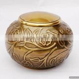 gold plated round antique brass metal indian urns