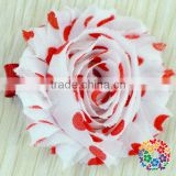 Hot Sale Red And White Wedding Decoration Artificial Flowers Beautiful Handmade Peony Shabby Flower