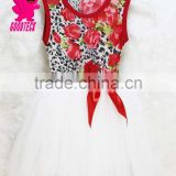 High quality and hot selling Red and White flower girl dress for Printed children dress lovely girl flower dress with Bow