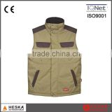 Mens 300D oxford work multi-pocket canvas vest