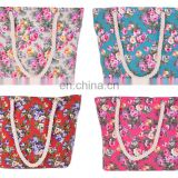 Hot sale printing flower women canvas shopping bag in stock