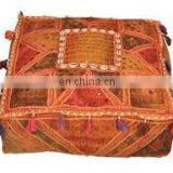 Square Shape Bohemian Patchwork pouf cover / Designer Vintage Foot Stool Bean Bag Floor Pillow pouf
