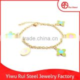 Delicate flower and oval hoop chain gold 316L stainless steel baby bangle bracelets