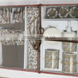 100% polyester bathroom set with ceramics accessary