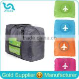 Cheap Polyester Lightweight Airplane Print Airport Travel Bag Foldable Sky Travel Luggage Bag