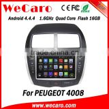 "Wecaro Android 4.4.4 touch screen in dash 8"" car dvd player for peugeot 4008 car radio navigation system"