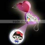 led heart shape projector keychain,promotional gifts led custom shape keychain,3d plastic led laser keychain,new product for2015
