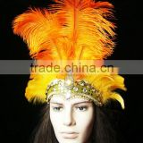 Magnificent Carnival Headdress (Orange Color) Lady headdress With Feather