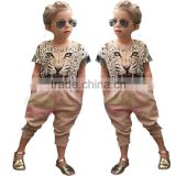 Foreign Trade Children's Clothes waholesale F1820 Summer Hot New Style Girl 3D Animal Printing Baby Suits