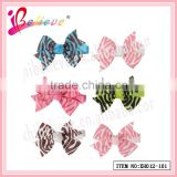 Crazy hot sale in America little girls' charming elegant ribbon bow animal stripes hair clips (XH012-101)
