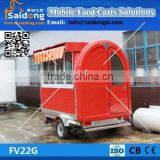 Stainless Steel Mobile hot dog cart/trolley Electric tricycle coffee cart/mobile food cart with wheels
