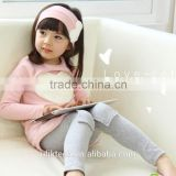 wholesale girls fabric sweater with heart grey leggings hairband 3 piece 2015 fashion girls clothing