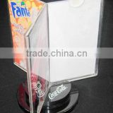 turned base acrylic table tent menu holder