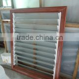 Wooden color aluminum frame glass louver windows with casing