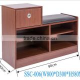 Easy Assembly Brown Faux Leather Folding Storage Ottoman Bench shoe cabinet with sofa