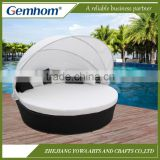 Round Outdoor Rattan Daybed With Canopy | Gemhom                                                                         Quality Choice