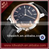 Stainless Steel Case Rose Gold Bezel Sapphire Crystal Genuine Leather Strap Swiss Watch