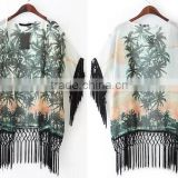2015 latest Women Boho Coconut Tree Floral Print Kimono Cardigan Chiffon Jacket Tassel Fringed Holiday blouse                                                                         Quality Choice