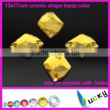 Wholesale sew on gems topaz color foil back crystal with holes