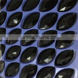 Top quality jet black color marquise shape 17x3mm decorative glass stones.Factory price decorative glass gems diamond for dress