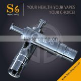 Huge Vapor Adjustable Airflow Pyrex Glass Atomizer with Dual Coils Replaceable Heads S6 E Cigarette