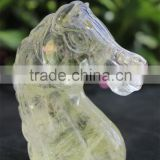Wholesale Natural Rock Quartz Citrine Yellow Crystal Horse Head /Semi Precious Crystal Horse Figurine