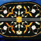 Italian Marble Inlaid Oval Shape Coffee Table Top
