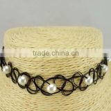 Black elastic nylon rope with white pearl choker necklace