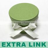 Luxury fresh green color customed logo ribbon decorative round paper gift box with string cord