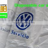 wholesale LDPE white color printing VW logo waterproof and two pockets 500pcs per roll plastic disposable car Seat Cover
