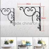 WROUGHT IRON GARDEN GARAGE SHELF HANGING BASKET SCROLL BRACKET