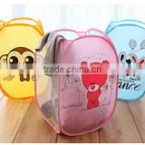 Cute Cartoon print Nylon folding mesh pop up laundry hamper foldable laundry basket storage basket