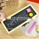 wooden pen box with blackboard and mirror cosmetic boxes pencial case